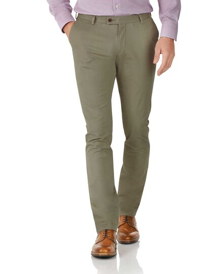Pantalon chino kaki extra slim fit en tissu stretch