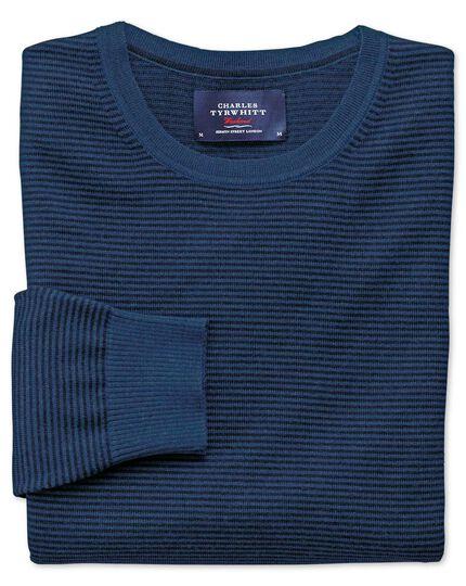 Navy and blue merino wool crew neck jumper