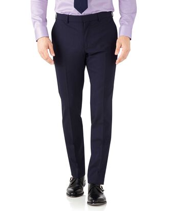 Navy blue slim fit performance suit trousers