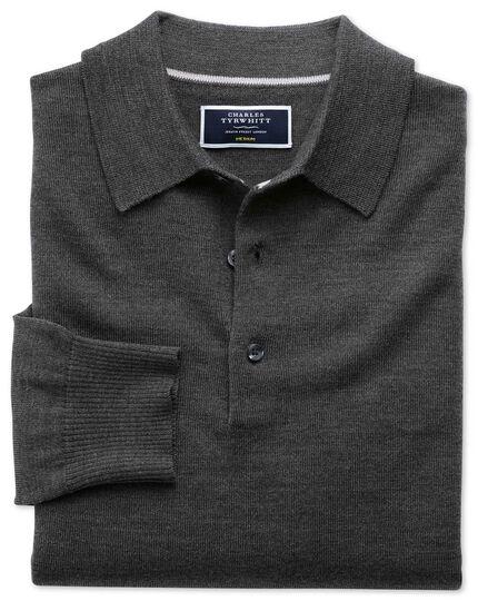Charcoal merino wool polo neck jumper