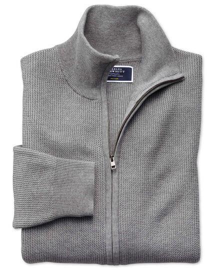 Gilet zippé argent en coton Pima texturé