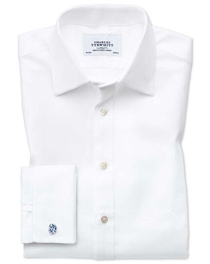 Extra Slim Fit Hemd aus ägyptischer Baumwolle und Cavalry-Twill in Weiß