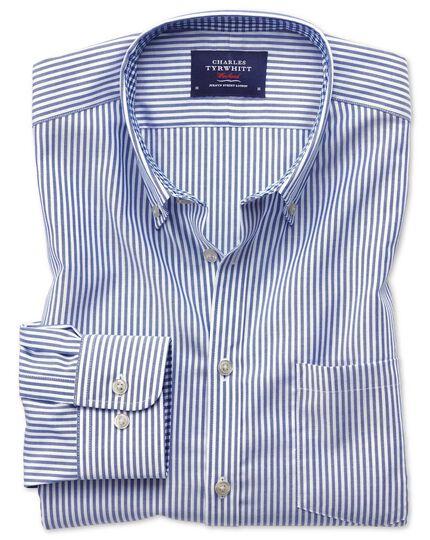 Bügelfreies Slim Fit Oxfordhemd in Königsblau mit Bengal-Streifen