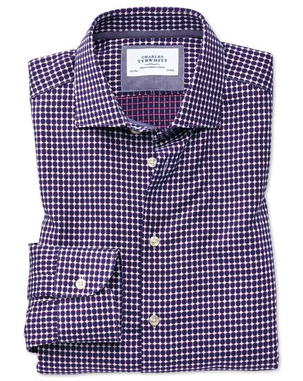 Extra slim fit semi-cutaway business casual non-iron modern textures blue and pink shirt