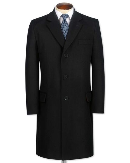 Slim fit black wool and cashmere overcoat