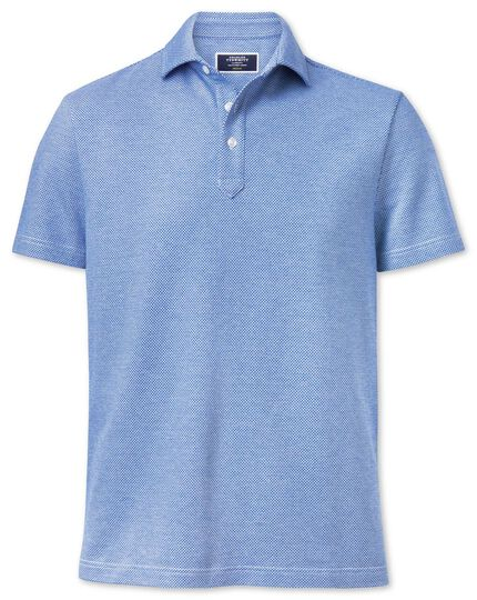 Light blue and white birdseye polo