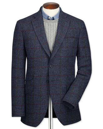 Veste bleu marine en tweed britannique slim fit avec carreaux