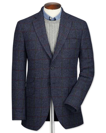 Slim fit navy check British tweed jacket