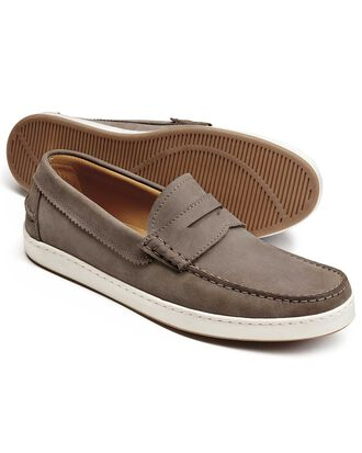 Stone saddle loafer