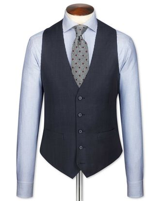 Slim Fit Reiseanzug Weste aus Sharkskin in Blau