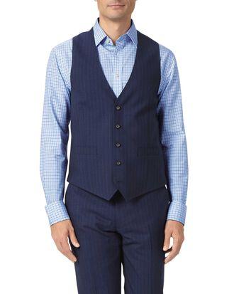 Gilet de costume business bleu marine en panama coupe ajustable à rayures