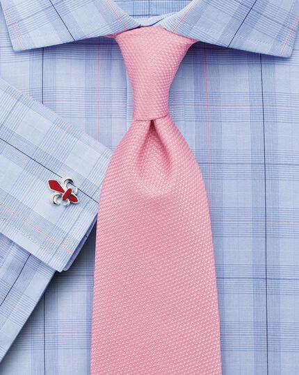 Classic fit semi-cutaway collar Prince of Wales check blue shirt