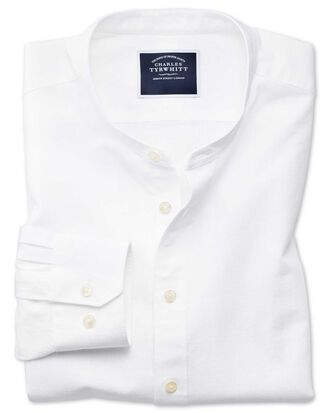 Slim fit collarless white shirt