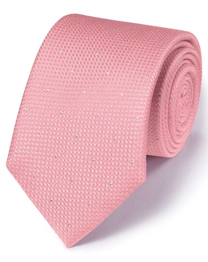 Light pink silk classic textured dash tie
