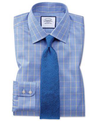 Bügelfreies Slim Fit Hemd in Blau und Gold mit Prince-of-Wales-Karos