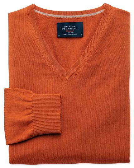 Pull orange en laine mérinos à col V