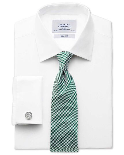 Green silk classic Prince of Wales check tie
