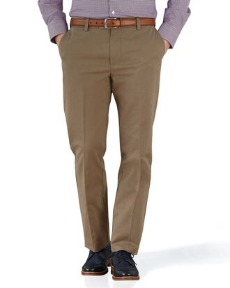 Pantalon chino brun clair slim fit à devant plat sans repassage