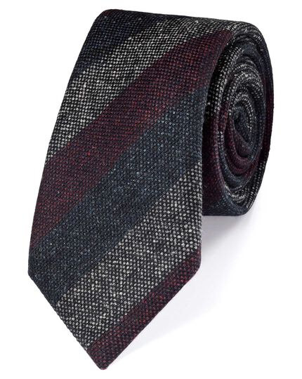 Navy and wine silk mix printed Donegal stripe luxury tie