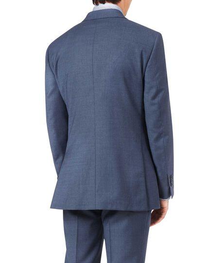 Veste de costume bleu acier en tissu italien slim fit à effet quadrillé