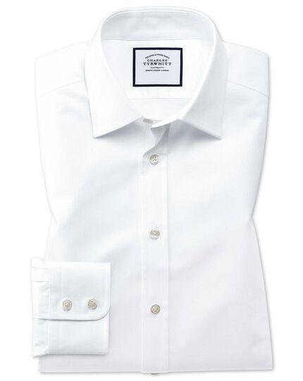 Chemise blanche en coton égyptien coupe droite à tissage effet treillis