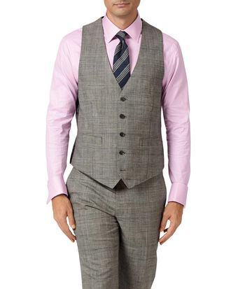Grey adjustable fit Panama Prince of Wales check business suit waistcoat