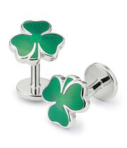 Irish shamrock enamel cuff links
