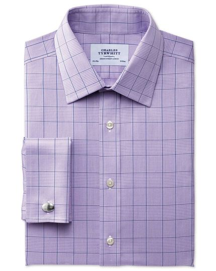 Extra slim fit non-iron Prince of Wales lilac shirt