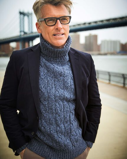 Blue mouline roll neck sweater