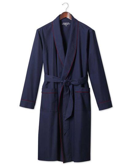 Navy brushed cotton robe