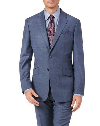 Airforce blue slim fit cross hatch weave italian suit jacket