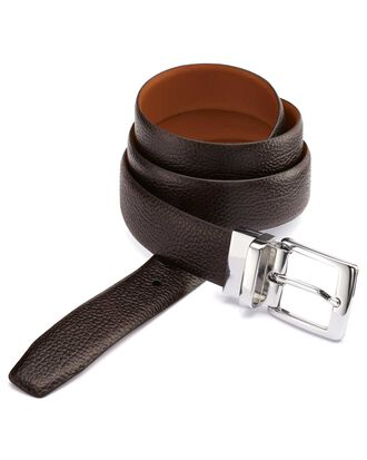 Brown and tan reversible belt