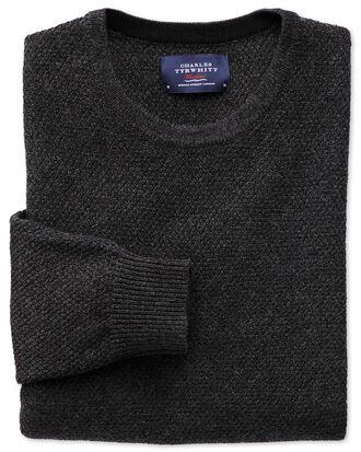 Merino / Baumwolle Pullover mit Rundhalsausschnitt in Anthrazit