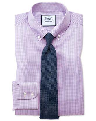 Chemise lilas en twill coupe droite à col boutonné sans repassage