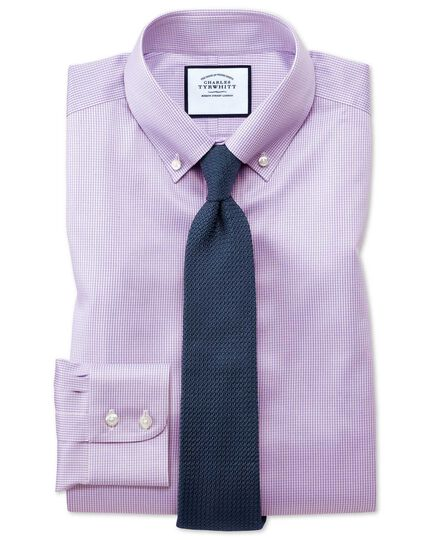 Classic fit button-down non-iron twill lilac shirt