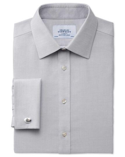 Slim fit non-iron micro spot grey shirt