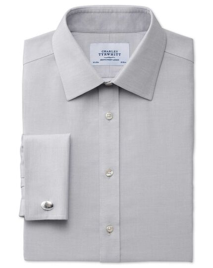 Extra slim fit non-iron micro spot grey shirt