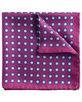 Pochette de costume classique myrtille et bleue avec imprimé médaillon rond