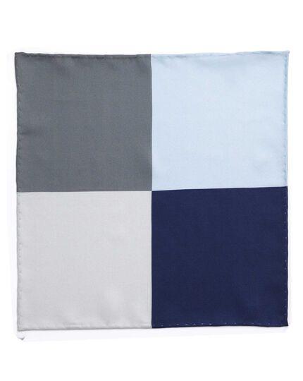 Blues multi classic printed quarter pocket square