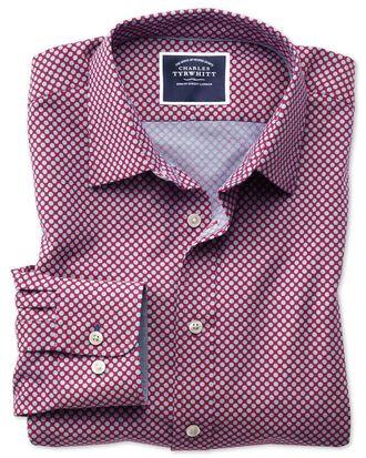 Slim fit non-iron chambray berry spot print shirt