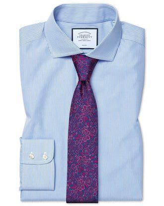 Slim fit cutaway non-iron Bengal stripe sky blue shirt