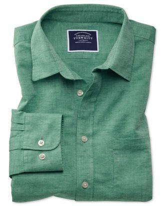 Chemise verte unie en coton et lin coupe droite