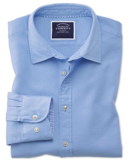 Classic Fit Hemd aus Strukturgewebe mit Waffelmuster in kräftigem Blau