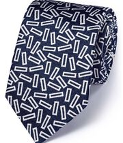 Royal and white silk English luxury end-on-end tie
