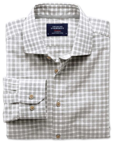 Slim fit cutaway collar popover light grey check shirt