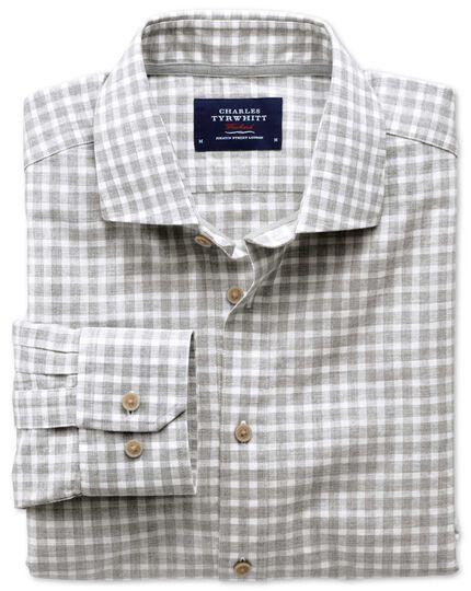 Slim fit spread collar popover light grey check shirt