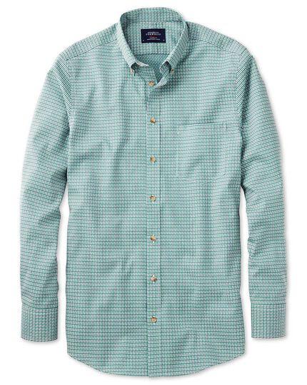 Slim fit non-iron poplin green and navy check shirt