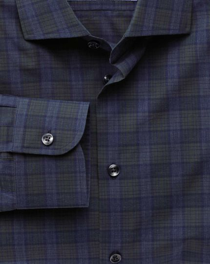 Slim fit semi-cutaway collar business casual melange navy and green check shirt
