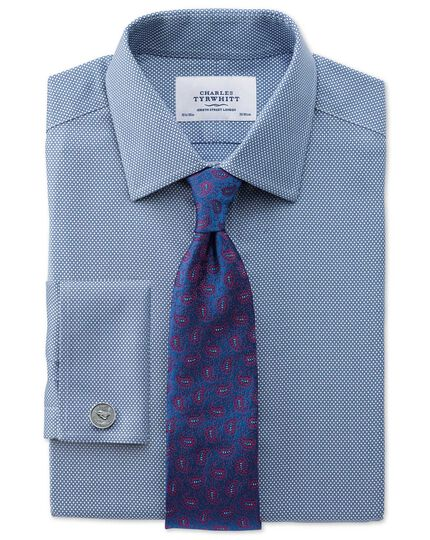 Classic fit non-iron honeycomb mid blue shirt