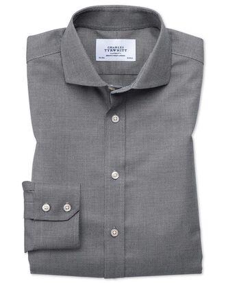 Chemise noire et blanche texturée extra slim fit sans repassage à col cutaway